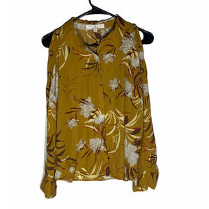 M by Marled Yellow Floral Button Blouse
